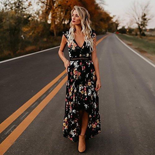 Mujer sin Mujer Vestido Noche para y de Cuello V Mujeres Vestido Elegantes Playa Amlaiworld asimétrico Vestidos de Florales Respaldo largos en Flores Vestido Negro Sexy de Fiesta Vestido wqzXgFT