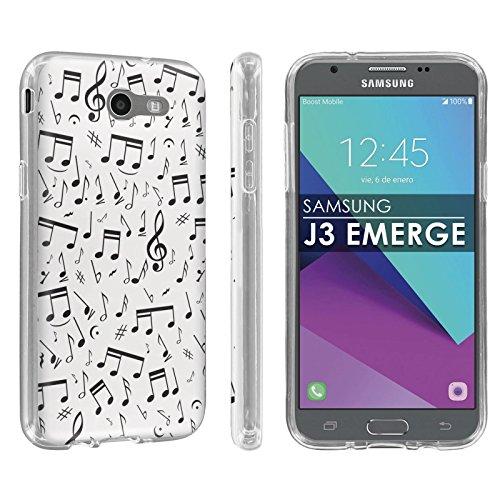 [해외][팝 컬쳐] J3에 대 한 TPU 등장 【 2017 】 Amp Prime2익스프레스 Prime2업무용 이클립스J3 루나 프로 【 클리어 】 총 충격 슬림 핏 구미 【 화면 보호기 】-【 음악 노트화이트 】 프린트 디자인 / [POPCulture] TPU For Galaxy J3 Emerge [2017]A...