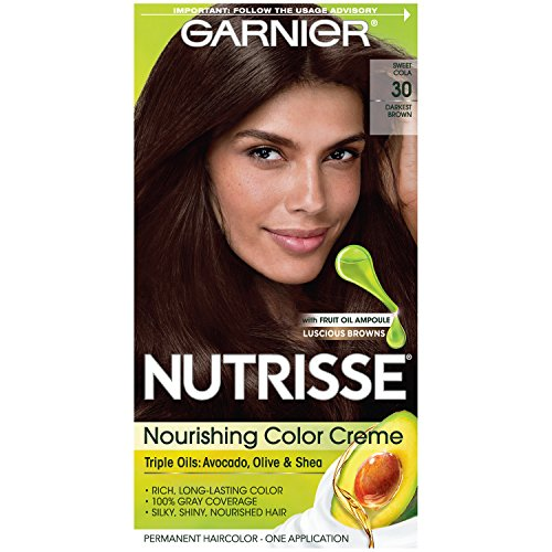 Garnier Nutrisse Nourishing Hair Color Creme, 30 Darkest Brown (Sweet Cola) (Packaging May Vary)
