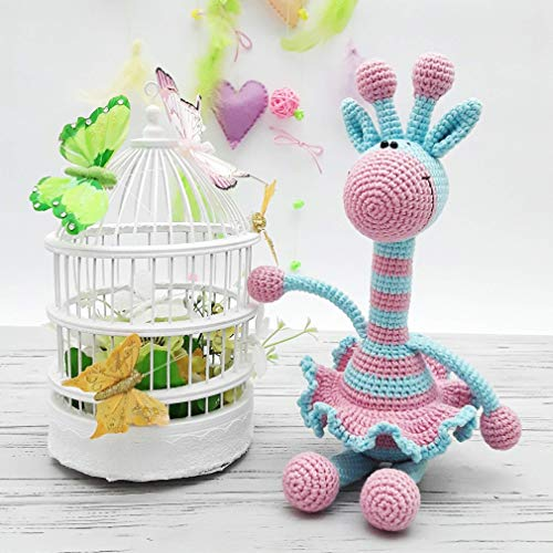 Pastel crochet rattle giraffe soft baby toy knitted plush for baby newborn gift cotton gritty marshmallow stuffed animal keepsake crib toy handmade baby shower amigurumi for Mother's day