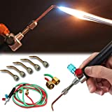 Jewelry Micro Mini Gas Little Torch with 5 Tips Welding Soldering Torches kit Oxygen & Acetylene Torch Kit Metal Cutting Torch Kit Portable Cutting Torch Set Welder Tools