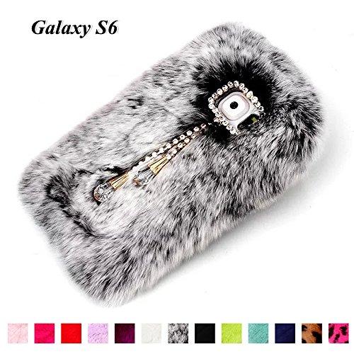 Galaxy S6 Gray Fur Case For Girls, Fast Jewelry® Bling Diamond Crystal Chain Pendant Desgin Genuine Rex Rabbit Fur Fluffy Case for Samsung Galaxy S6 SM-G920F