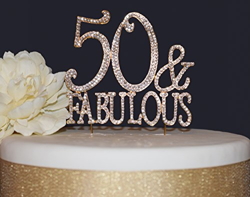 50 and Fabulous GOLD Cake Topper | Premium Sparkly Crystal Rhinestone Gems | 50th Birthday Party Decoration Ideas | Quality Metal Alloy | Perfect Keepsake (50&Fab Gold)