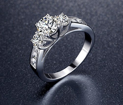 Amazon.com: Anillos De Compromiso Aniversario Matrimonio Luxury Fashion Bridal Set Ring for Women with Paved Micro Zircon Crystal: Jewelry