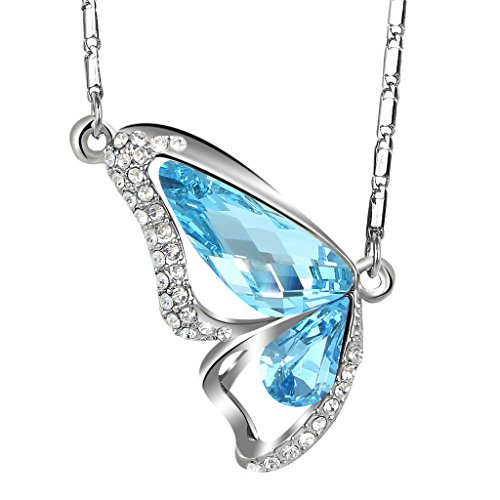 [EleQueen Women's Silver-tone Butterfly Pendant Necklace Aquamarine Color Adorned with Swarovski] (Butterfly Costume Jewelry)