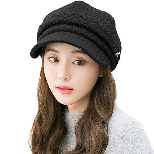 Cotton Lined Cap (Siggi Womens Newsboy Cap Ladies Wool Winter Visor Beret Cabbie Hat Soft Cotton Lined Black)