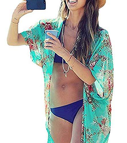 Shoulder Bag Drawstring Floral (Yonala Summer Womens Beach Wear Cover up Swimwear Beachwear Bikini,One Size,Green)