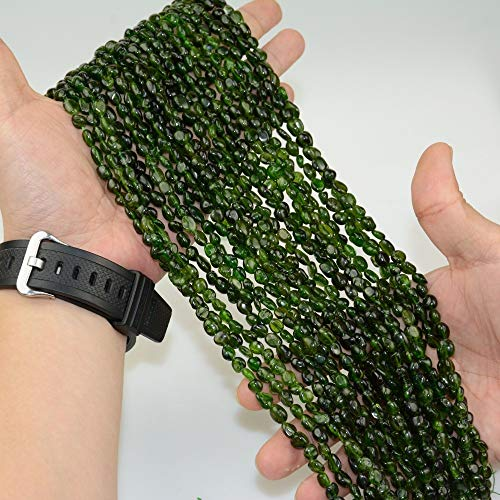 NTNH12 Beads - Natural Dark Green Clean Diopside Small Tumbled Nuggets Beads 5mm-7mm 1 PCs