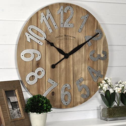 FirsTime Co. Slat Wood Wall Clock, 22.5 , Tan