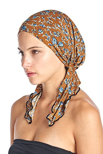 Ashford   Brooks Womens Pretied Printed Fitted Headscarf Chemo Bandana   Brown Birds