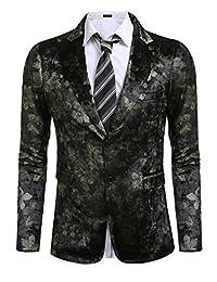Coofandy Men's Stylish Slim Fit Button Floral Suits Blazer Jacket Coats
