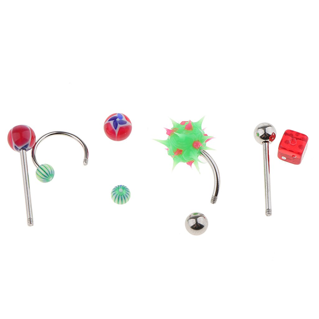 60 Piece Stainless Steel Mixed Kit Eyebrow Ear Lip Navel Ring Body Jewelry