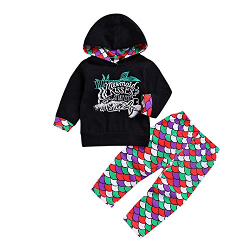 Toddler Kids Baby Girl Mermaid Winter Outfit Set Long Sleeve Hoodie Top Pants Leggings Holiday Birthday Gift (Black, -