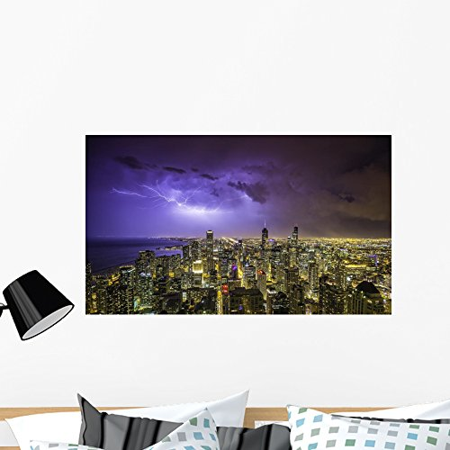 Chicago Downtown Night Panorama Wall Mural by Wallmonkeys Peel and Stick Graphic (36 in W x 21 in H) - Street Chicago Downtown State