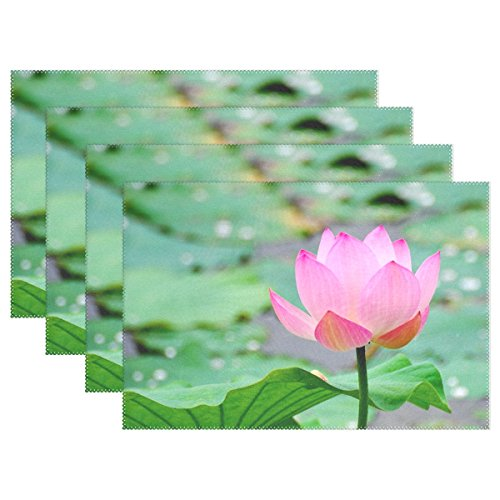 Kitchen Dining Room Placemats Table Mats,Lotus Leaf Flower Pond Water Heat Resistant Woven Vinyl Table Mats Placemat Set of 4