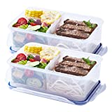 Meal Prep Container (38.8oz) - Portion Control - BPA Free - 100% Leak-proof Reusable Food Container - Bento Lunch Box - Configurable Compartments (2Pack)