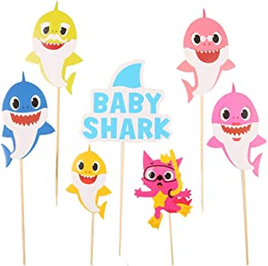 QIYNAO Happy Birthday Cake Topper Shark Cake Flag Banner Birthday Party Cake Ornament