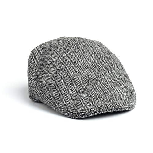 Donegal Touring Cap Tweed Hat - Brown Herringbone (Grey Herringbone, Large)