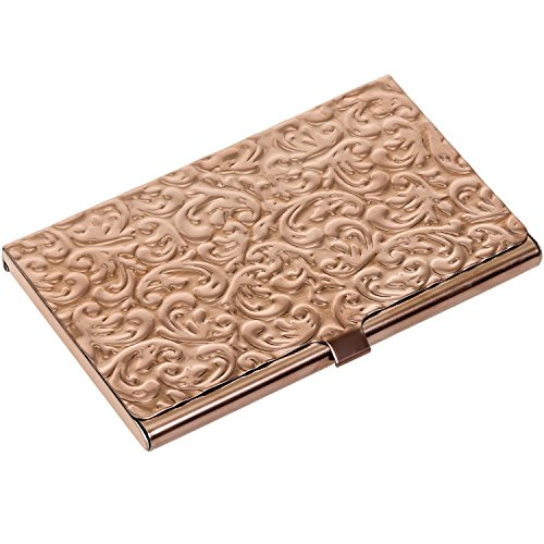 Briefcase Leather Baseball (Metal Damask Embossed Business Card Case (Rose Gold Tone))