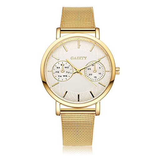 Perman Womens Classic Quartz Milanese Stainless Steel Watch Gaiety G389  Gold