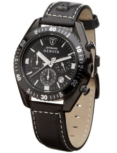 DETOMASO Men's SL1592C-BK-B GENOVA Chronograph Classic Schwarz/Schwarz Analog Display Japanese Quartz Black Watch