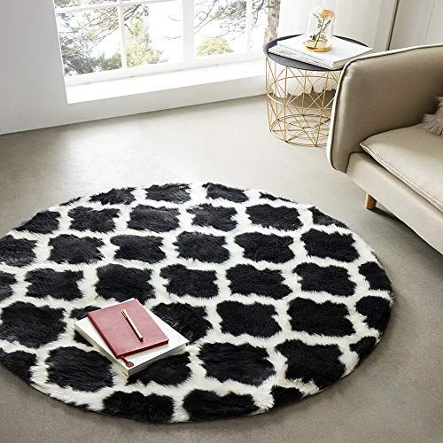 Ojia Moroccan Tribal Sheepskin Area Rug, Soft Diamond Carpet Runner for Bohemian Style,Living Room,Hallway & Bedroom(4ft Round Black) (Bedroom Moroccan)