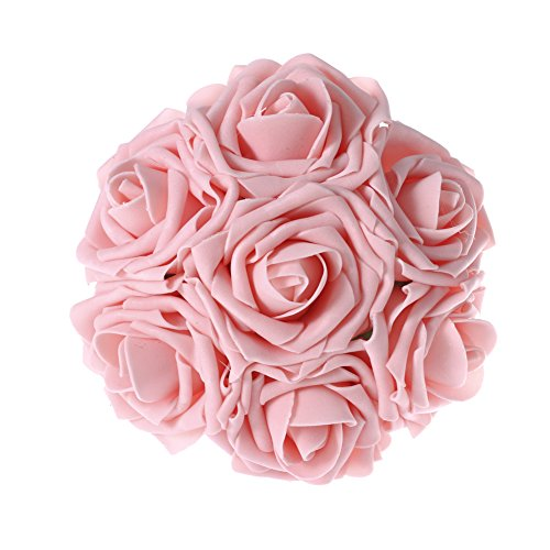 Ling's moment Artificial Flowers Decorations 50pcs Latex Real Touch Rose Wedding Bouquets Centerpieces DIY (Pink) (Pink Long Stem Vases)