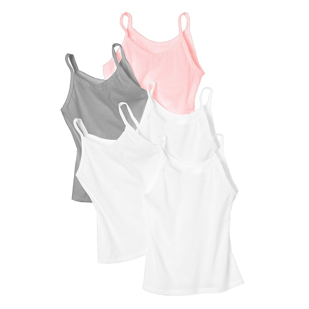 Hanes Girls' 5-Pack Cotton Assorted Cami