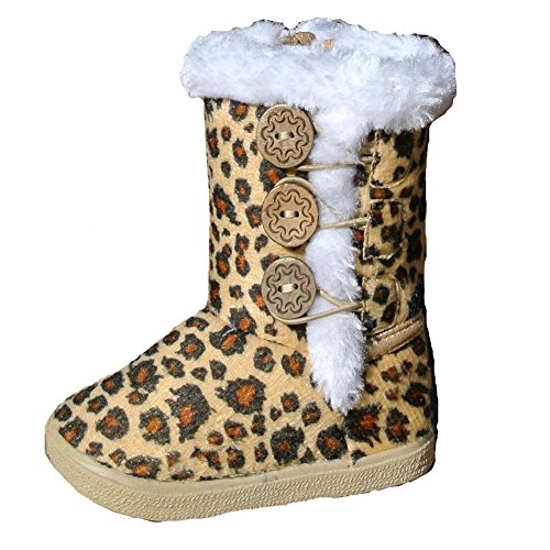 Toddler Little Girls Casual Faux Fur Winter Leopard Print Suede Button Boots (7, Tan - Ebony Brown And Round