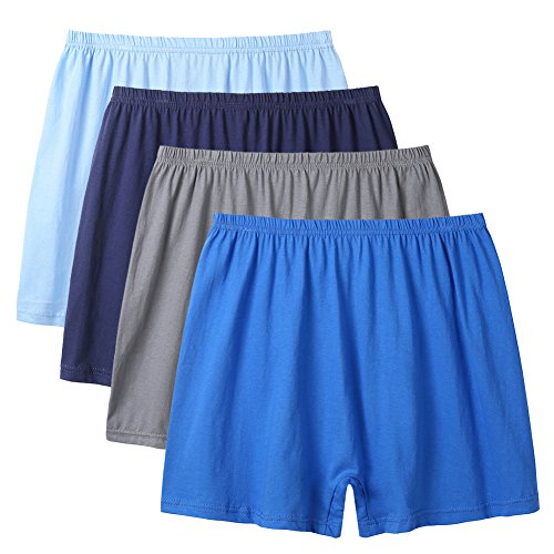 Loose Fit Boxer Underwear (BaiTao Mens Underwear 4 Pack Loose Comfortable Solid Basic Boxer Briefs (Grey,Sky Blue,Navy,Blue, XL=US Size L))