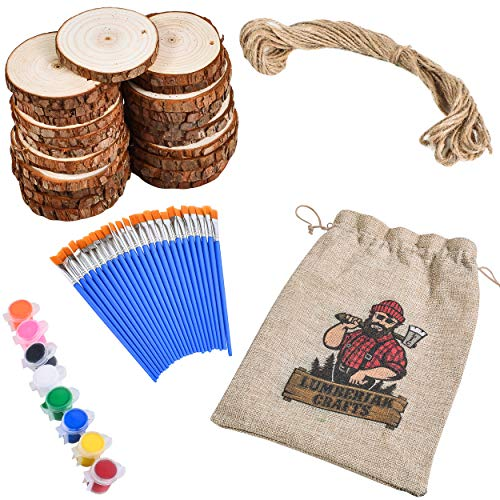 Lumberjak Crafts 24 Natural Wood Slices for Crafts Set (2.85-3.15in) - 24 Paint Brushes, 8 Paint Colors, 33Ft Hemp String - Pre-Drilled Wooden Discs for Arts and Crafts, Ornaments, Wood Coasters