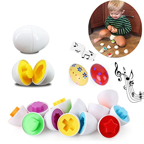 12 Pcs 12 Shapes Educational Matching 6 Colors Puzzle Eggs Sorting Eggs for Boys