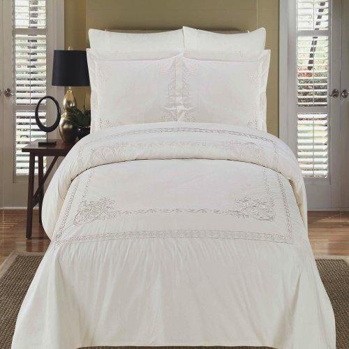 Athena Silk Pillow - Athena White Embroidered King Size Duvet cover Set, 100% Egyptian Cotton