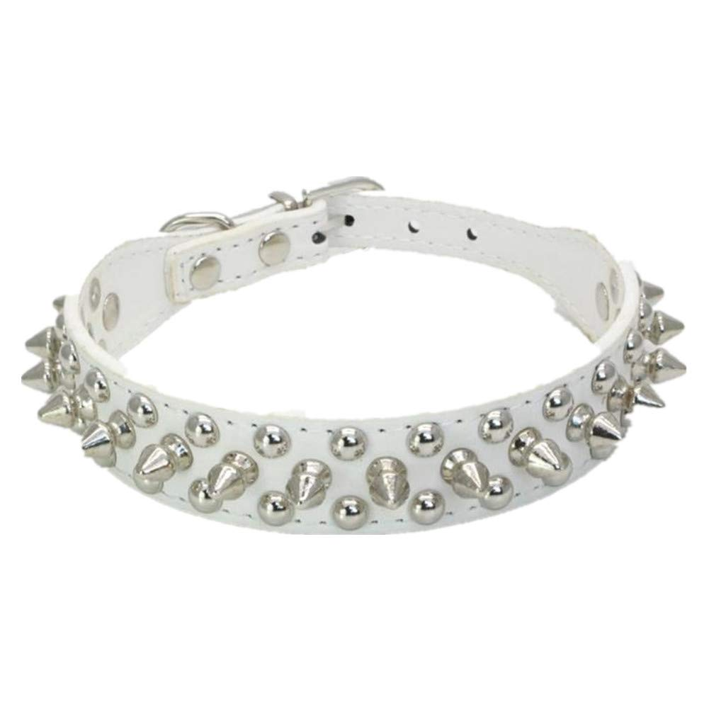 Fully 1 X Spikes Studded PU Leather Dog Puppy Safety Collars Choke Necklace Ajustable L, Black