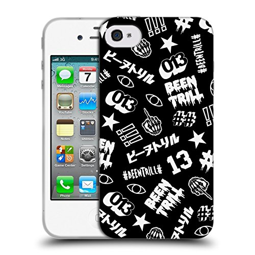 Official Been Trill Printed Design White Patterns Soft Gel Case for Apple iPhone 4 / 4S