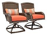 La-Z-Boy Outdoor Sawyer Patio Furniture Swivel Rocker Outdoor Chair Set of 2 (Grenadine Orange)