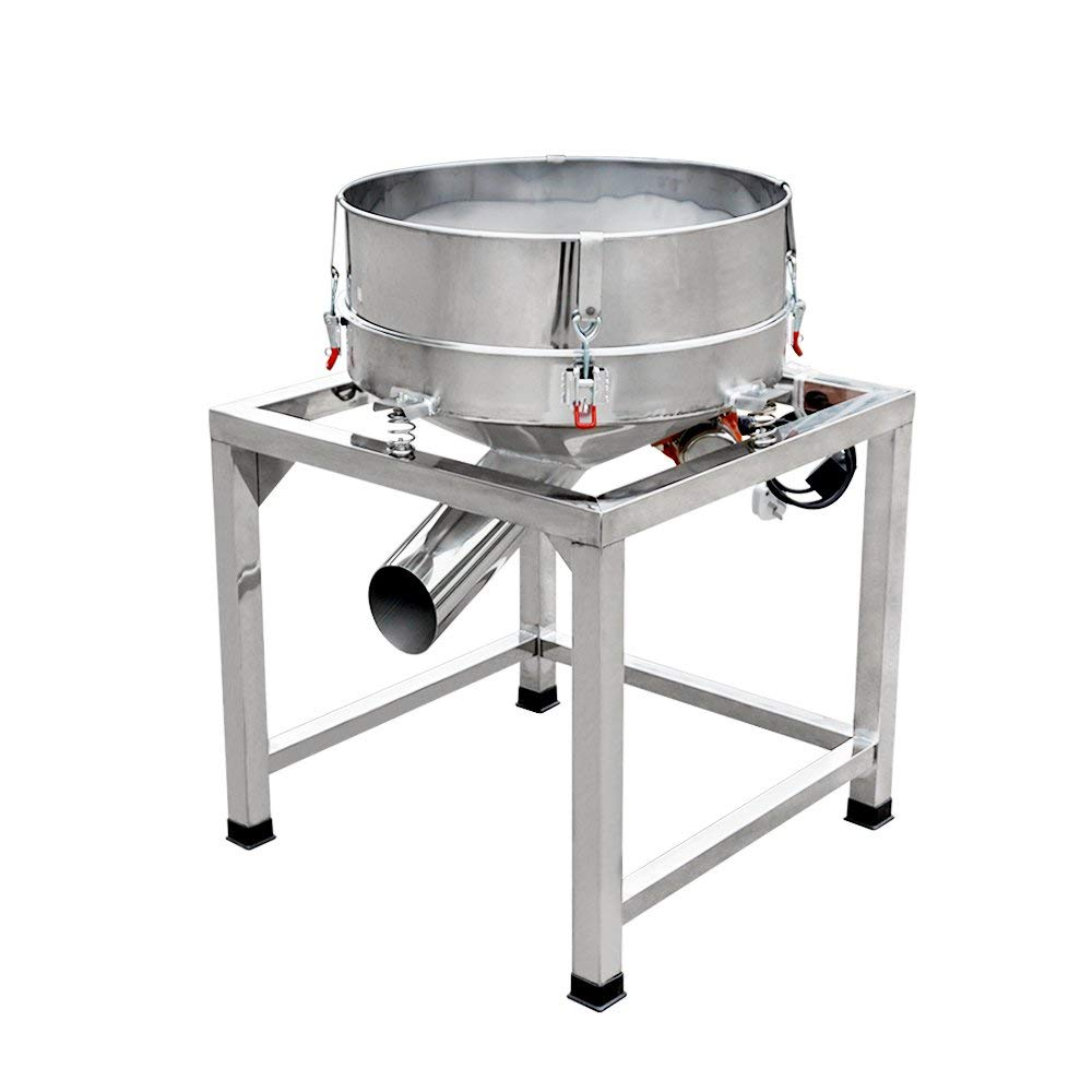 110V Electric Stainless Steel Vibrating Screen Powder Shaker Machine Electric Vibration Sieve Machine With #40 mesh Screen Use for Household, Commercial, Industrial