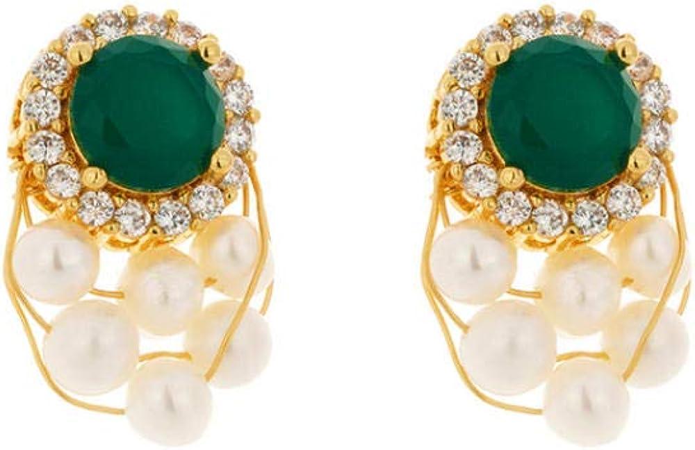 Pendiente Pendientes de botón de cristal verde elegante vintage Perlas naturales Pendientes de circonita de lujo para regalo de joyería de fiesta femenina Pin S925