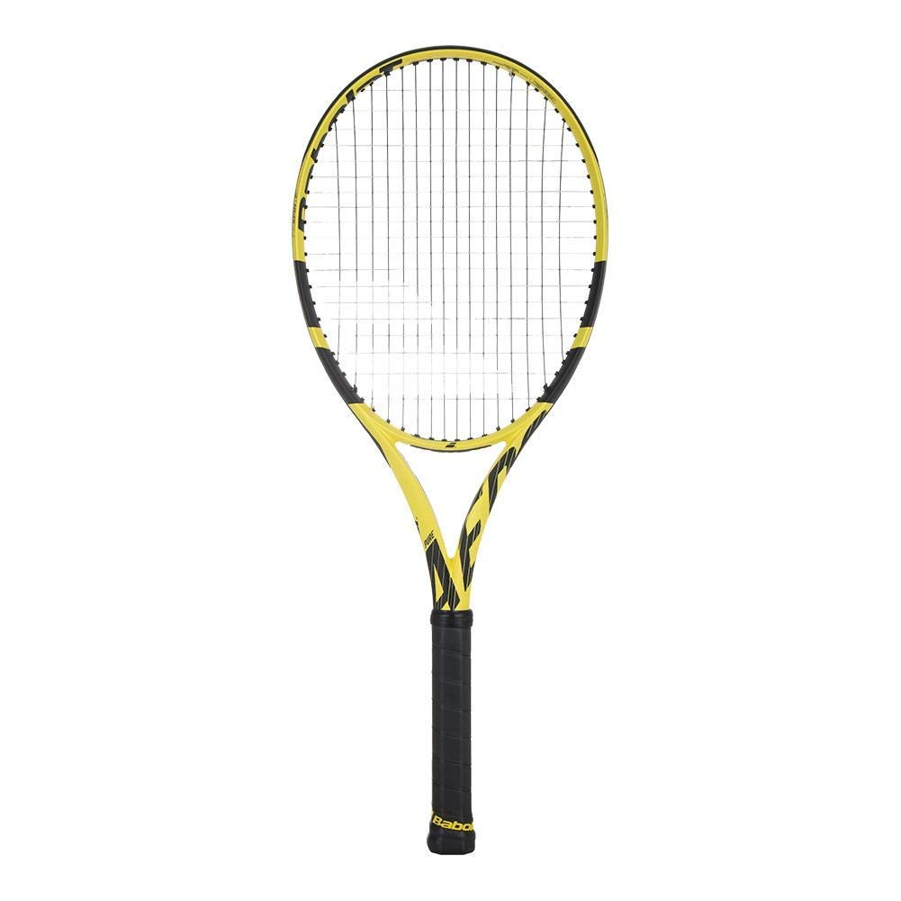 Babolat 2019 Pure Aero Plus (+) Extended Tennis Racquet (4 3/8 Inch Grip) Strung with Babolat SG Spiraltek Synthetic Gut String in Black String