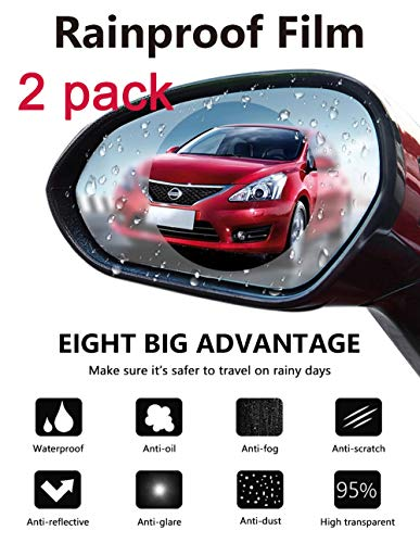 Car Rearview Mirror Protective Film,Waterproof Film, Anti-Fog HD Car Rearview Mirror Decal Rainproof, Anti-Glare, Anti-Scratch Clear Protective Film for Car Rearview Side Mirror Glass -Pack of 2PCS