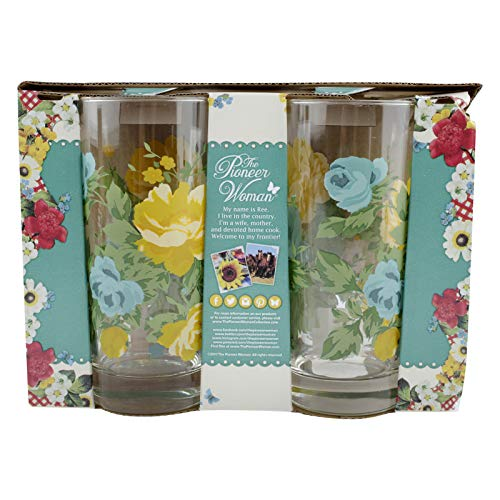 (Pioneer Woman 16 oz Rose Shadow Glass Cooler Set Drinking Cups Tumbler Floral)
