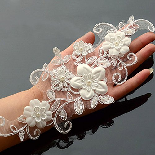 One Pair Beaded Appliques Lace Trims 3D Floral Embroidery Lace Trims for Bridal Accessories (Pearls And Lace Bridal)