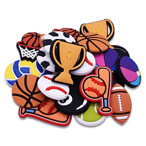 SHINQEAR 24pcs PVC Softball Baseball Tennis Billiard Basketball Trophy Cup Volleyball Colored Ball Football Rugby Shoe Charms Fits for Clog Shoes Wristband Bracelet Party Gifts