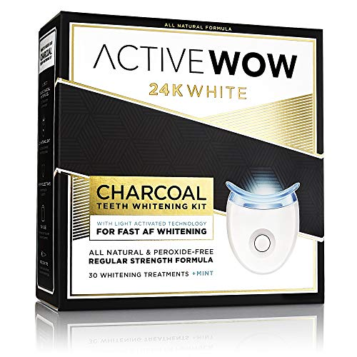 Standard Whitening Kit - Active Wow 24K White Charcoal Teeth Whitening Kit - All-Natural Charcoal Whitening Gel with LED Light Whitening Accelerator - For Sensitive Teeth and Gums