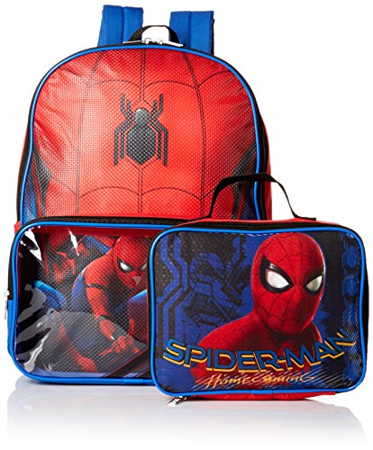 Marvel Boys' Spiderman Backpack with Lunch Window Pocket, Red