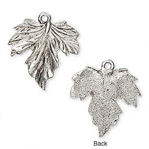 2 Antiqued Pewter Grape Leaf Charm Pendant 20x22mm Jewelry Making Charms and Pendants