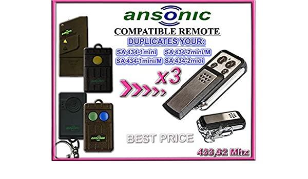 3 x ANSONIC SA 434-1mini/SA 434-2mini M/SA 434-2midi, 433.92 mhz ...