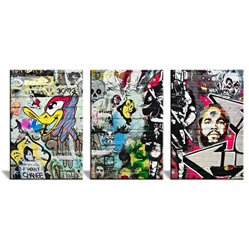 wall26 - 3 Panel Canvas Wall Art - Triptych Street Graffiti Series - Woody The Woodpecker - Giclee Print Gallery Wrap Modern Home Decor Ready to Hang - 24