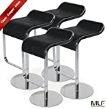 MLF LEM Style Piston Bar Stool. Adjustable (27.5''-31.5'') Smooth Hydraulic Piston. 360176; Swivel & Spin Smooth, Black Italian Leather. Sturdy & Well-made Polished Chrome Steel Frame. (Set of 4)