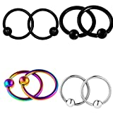 Fityle 4 Pairs 316L Stainless Steel Nose Hoop